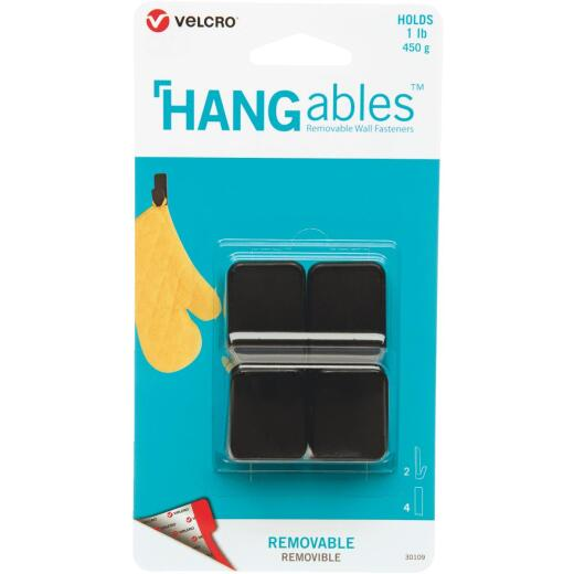 Velcro Brand Hangables 1 Lb. Capacity Black Removable Small Hook (2 Count)