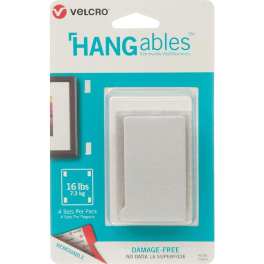 VELCRO Brand Hangables 3 In. x 1-3/4 In. White Removable Wall Fastener Strips (4 Ct.)
