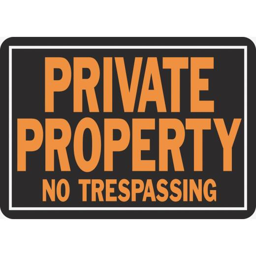 Hy-Ko Aluminum Sign, Private Property No Trespassing