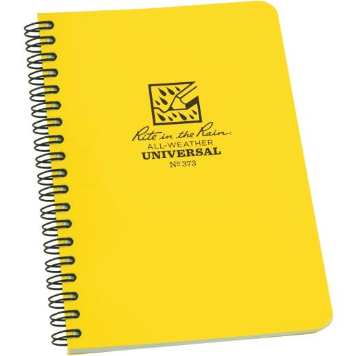 Rite in the Rain All-Weather 4-7/8 In. W. x 7 In. H. 32-Sheet Side-Spiral Bound Notebook, Yellow