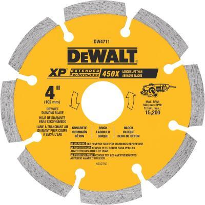 DeWalt Extended Performance 4 In. Segmented Rim Dry/Wet Cut Diamond Blade