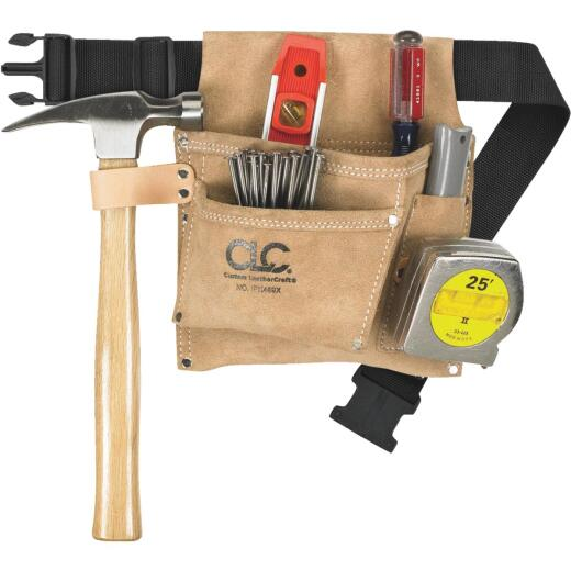 CLC 3-Pocket Suede Leather Nail & Tool Bag with Belt