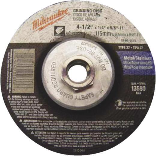 Milwaukee Type 27 4-1/2 In. x 1/4 In. x 5/8 In. Metal/Stainless Grinding Cut-Off Wheel