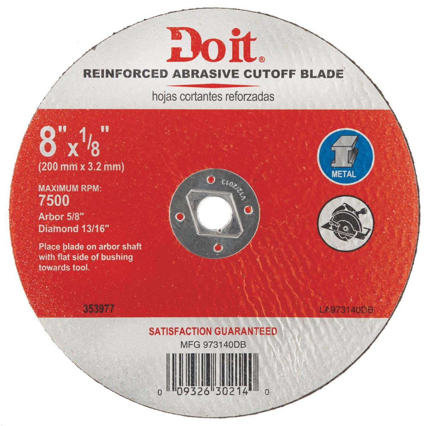Do it Type 1 8 In. x 1/8 In. x 5/8 In. Metal Cut-Off Wheel Image 1