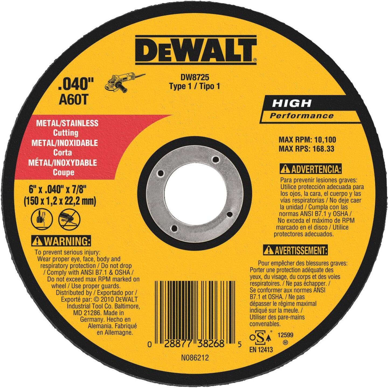 DeWalt HP Type 1 6 In. x 0.045 In. x 7/8 In. Metal/Stainless Cut-Off Wheel Image 1