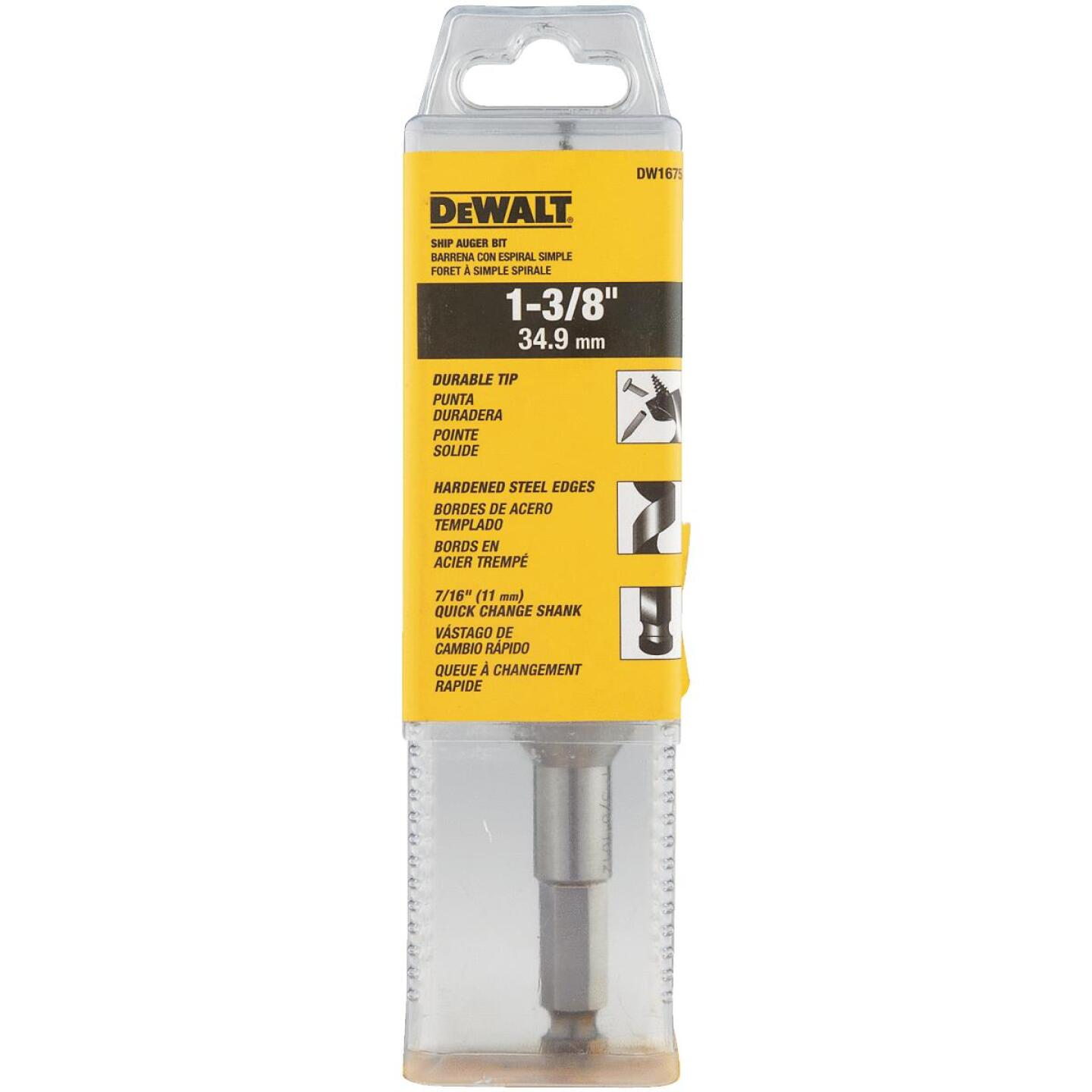 DeWalt Power Ship 1-3/8 In. x 6 In. Quick Change Auger Bit Image 3