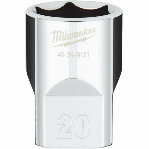 Milwaukee 1/2 In. Drive 20 mm 6-Point Shallow Metric Socket with FOUR FLAT Sides