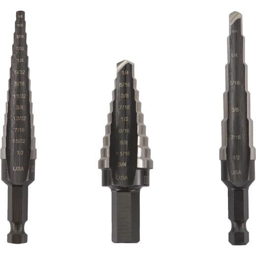 Irwin Unibit 3-Piece High-Speed Steel Step Drill Bit Set, #1 #2 #3