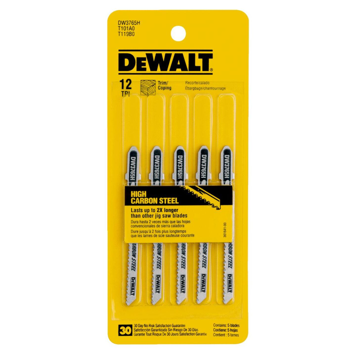 DeWalt T-Shank 3 In. x 12 TPI High Carbon Steel Jig Saw Blade, Trim/Coping Wood (5-Pack) Image 2