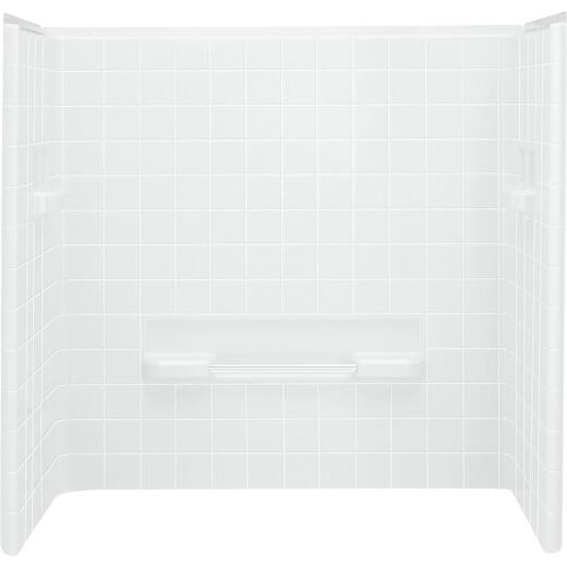 Sterling All-Pro 3-Piece 60 In. H Tub Wall Kit in White (Tile Pattern)