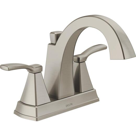 Delta Flynn Stainless 2-Handle Lever 4 In. Centerset Bathroom Faucet with Pop-Up