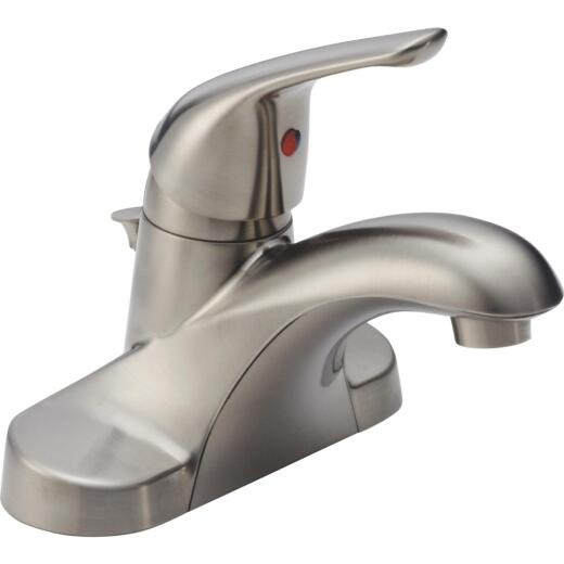 Delta Foundations Stainless 1-Handle Lever 4 In. Centerset Bathroom Faucet with Pop-Up