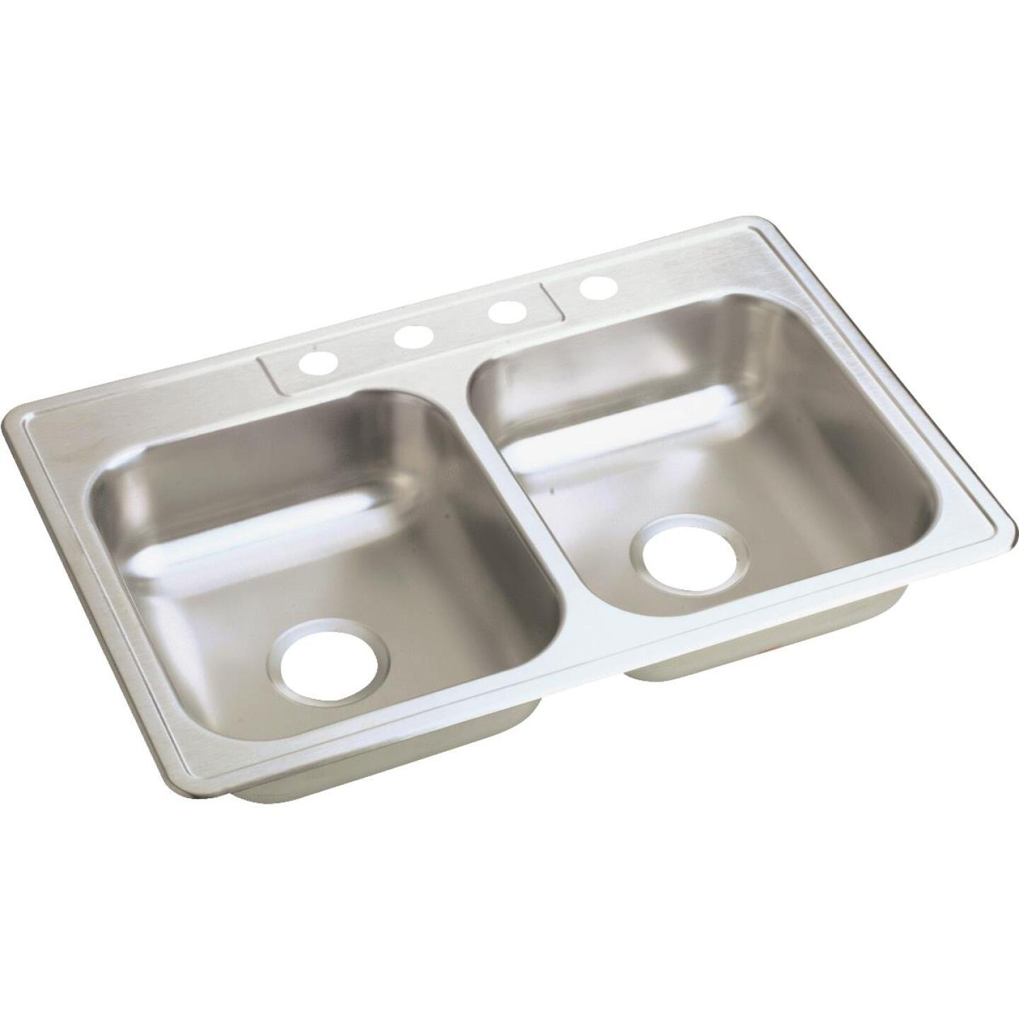 Elkay Double Bowl 33 In. x 22 In. x 6 In. Deep Luster Stainless Steel Kitchen Sink Image 1