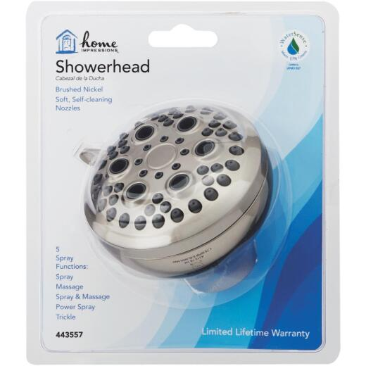 Home Impressions 5-Spray 1.8 GPM Fixed Showerhead, Brushed Nickel