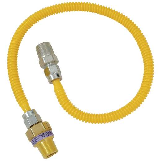 Dormont 3/8 OD x 24 In. Coated Stainless Steel Gas Connector, 1/2 In. MIP (Tapped 3/8 In. FIP) x 1/2 In. MIP SmartSense