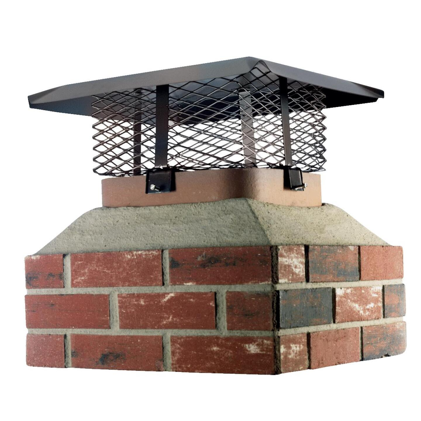Shelter Adjustable Black Galvanized Steel Single Flue Chimney Cap for Large Flue Image 1