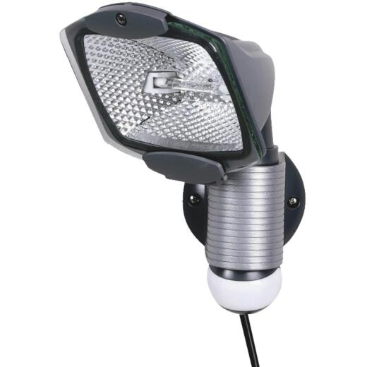 All-Pro Gray Motion Sensing Dusk To Dawn Halogen Floodlight Fixture
