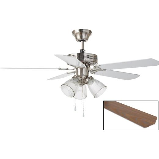 Home Impressions Tradition 42 In. Brushed Nickel Ceiling Fan with Light Kit