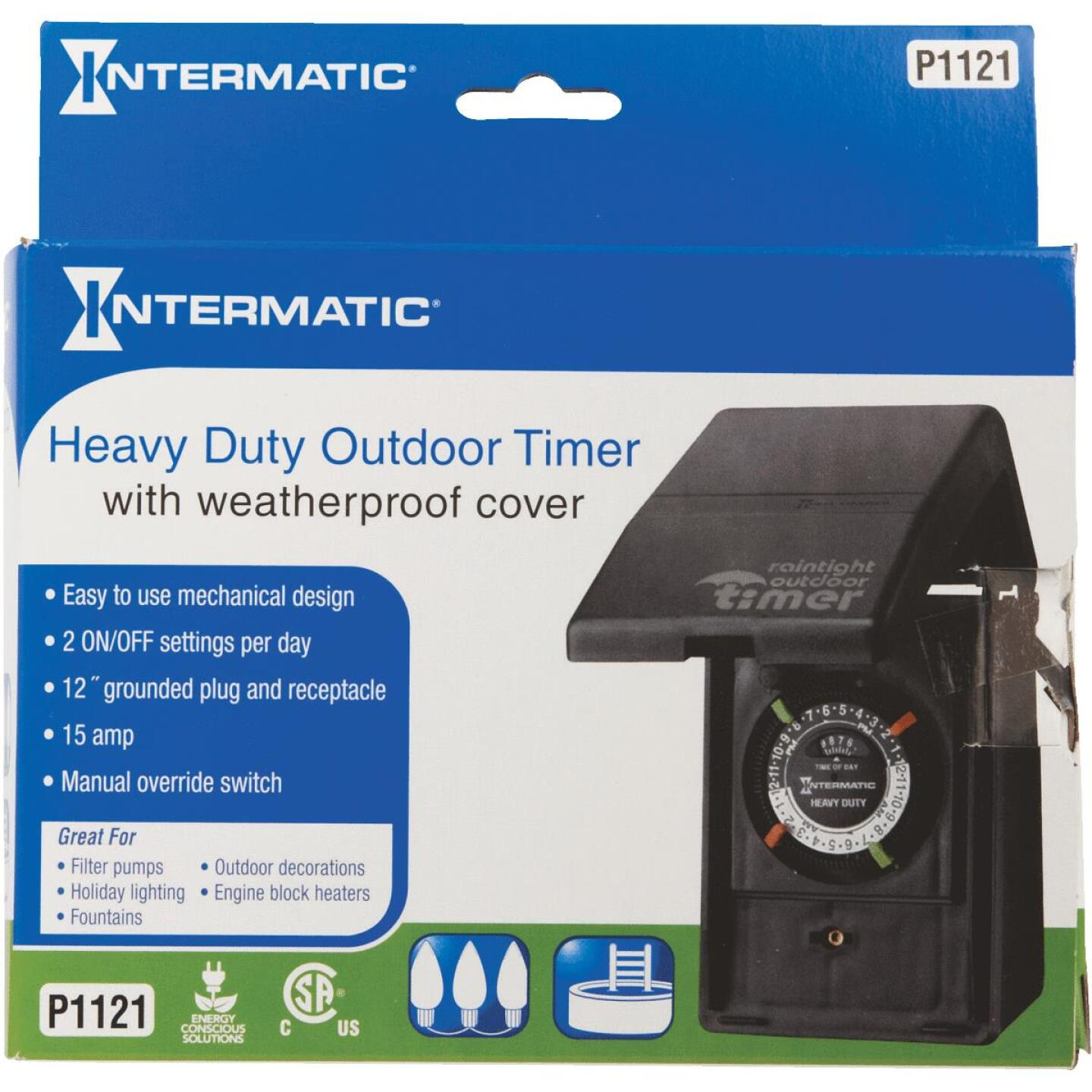 Intermatic 15A Resistive Or Tungsten 120V 1800W Black Plug-In Outdoor Timer Image 2