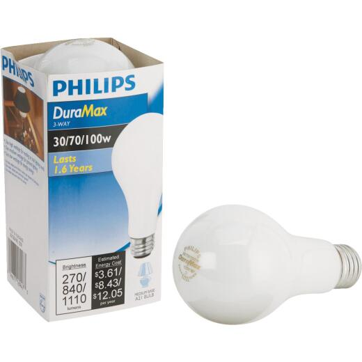 Philips Duramax 30/70/100W Frosted Soft White Medium Base A21 Incandescent 3-Way Light Bulb