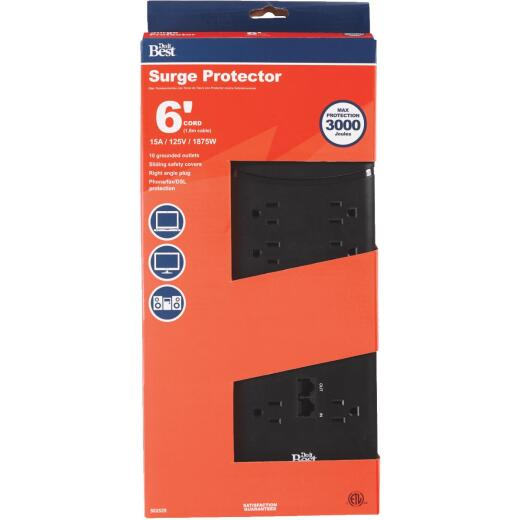 Do it Best 10-Outlet 3000J Black Surge Protector Strip with Phone Line Protection & 6 Ft. Cord