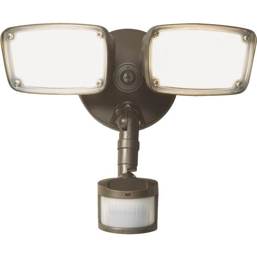 Halo Bronze Motion Sensing LED Twin Head Floodlight Fixture