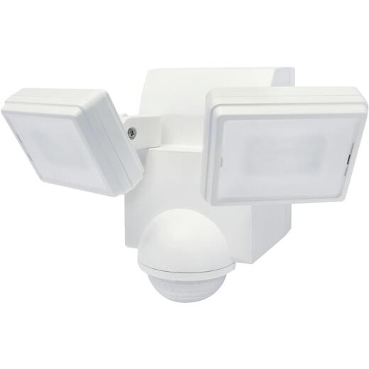 IQ America White 700 Lm. LED Battery Operated 2-Head Security Light Fixture