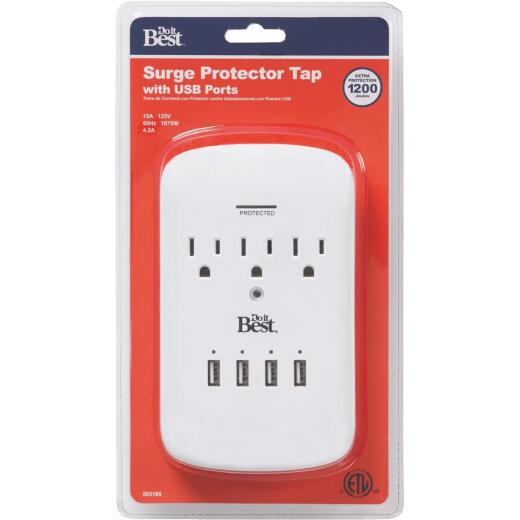 Do it Best 3-Outlet/4-USB 1200J White Plug-In Surge Protector