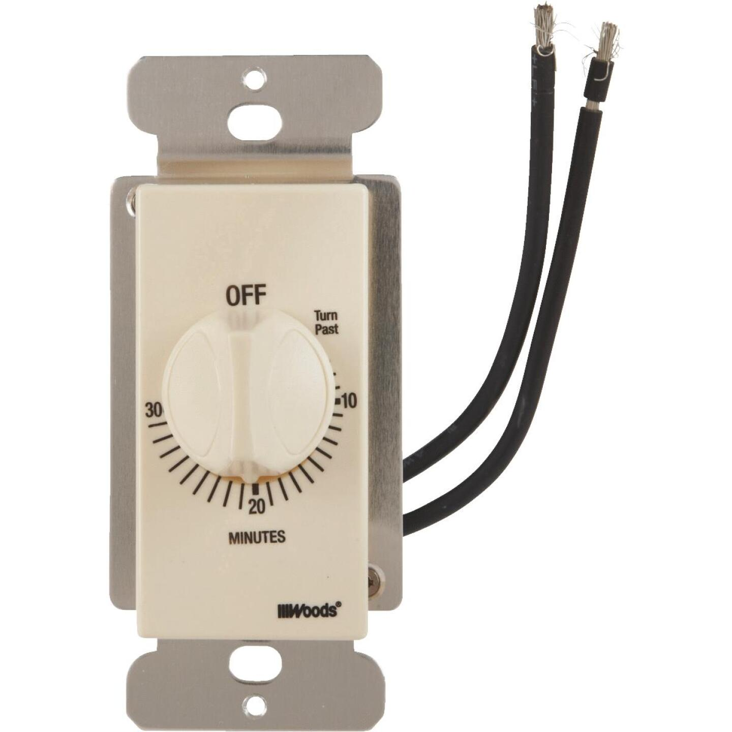 Woods 125V In-Wall 30-Minute Spring Wound Almond Timer Image 1