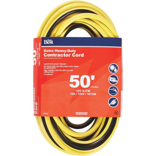 Do it Best 50 Ft. 12/3 Extra Heavy-Duty Contractor Extension Cord
