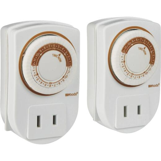 Woods 125V Indoor Timer (2-Pack)