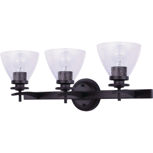 Home Impressions 3-Bulb Oil Rubbed Bronze Vanity Bath Light Fixture, Seeded Glass