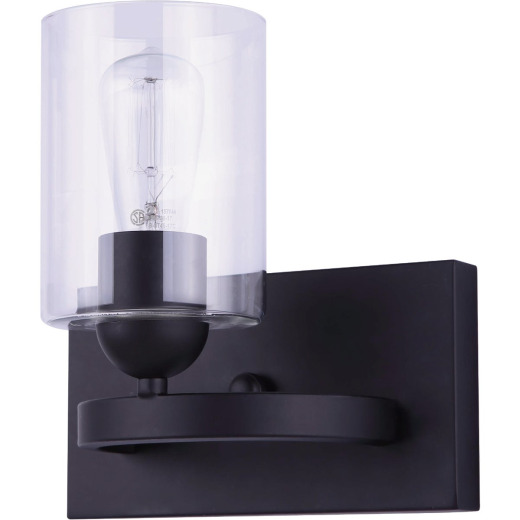 Home Impressions 1-Bulb Matte Black Vanity Bath Light Fixture with Easy Connect
