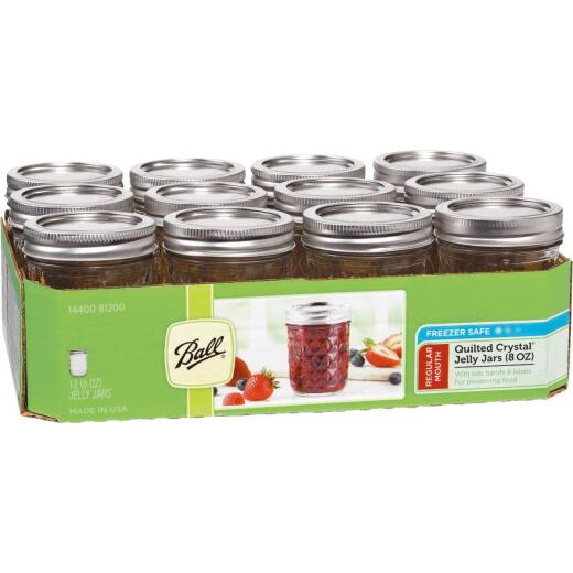 Ball 8 Oz. Glass Deluxe Jam or Jelly Jar, (12-Pack)