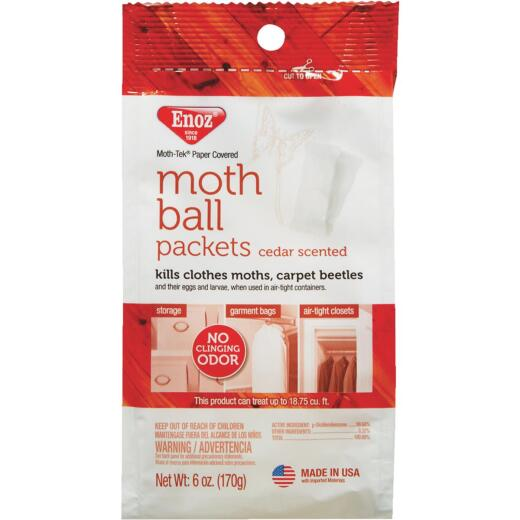 Enoz Moth-Tek 6 Oz. 18.75 Cu. Ft. Coverage Paper Packets Moth Balls