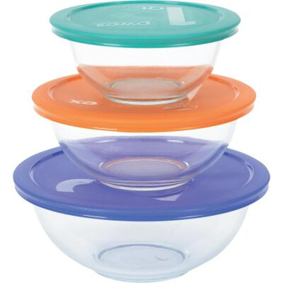 Pyrex Smart Essentials Covered Glass Pyrex Bowl Set (6-Piece)