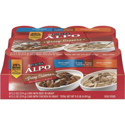 Alpo Gravy Cravers Chicken and Beef Wet Dog Food, 12 Cans
