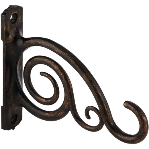 Panacea 6 In. Brushed Bronze Scroll Cast Aluminum Decorative Hanging Plant Bracket