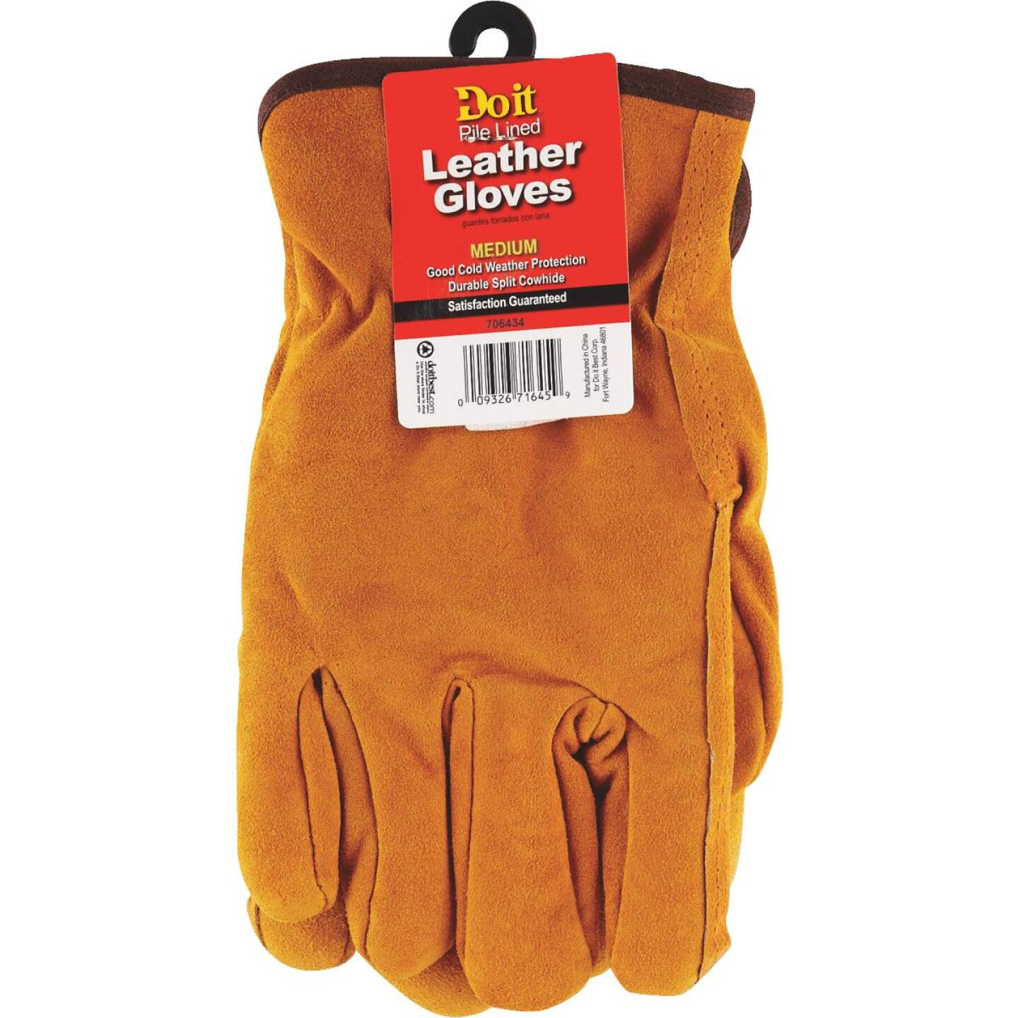 Do it Men's Medium Lined Leather Winter Work Glove Image 4