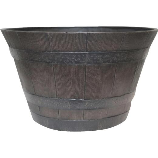 Southern Patio 13-1/2 In. H. x 22-1/2 In. Dia. Kentucky Walnut High-Density Resin Traditional Whiskey Barrel Planter