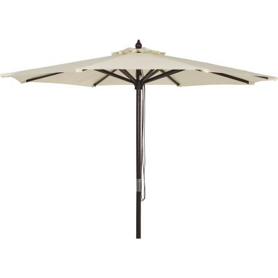 Outdoor Expressions 9 Ft. Pulley Cream Market Patio Umbrella with Chrome Plated Hardware