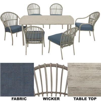 West Palm 7-Piece Wicker Dining Set with Cushions