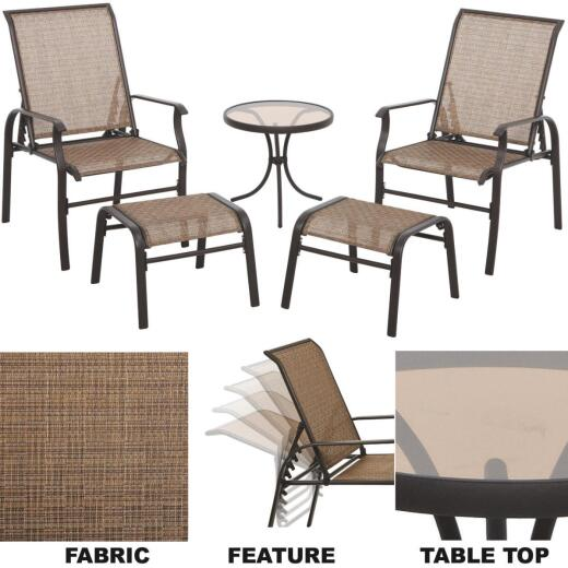 Outdoor Expressions Greenville 5-Piece Steel Sling Chair Chat Set