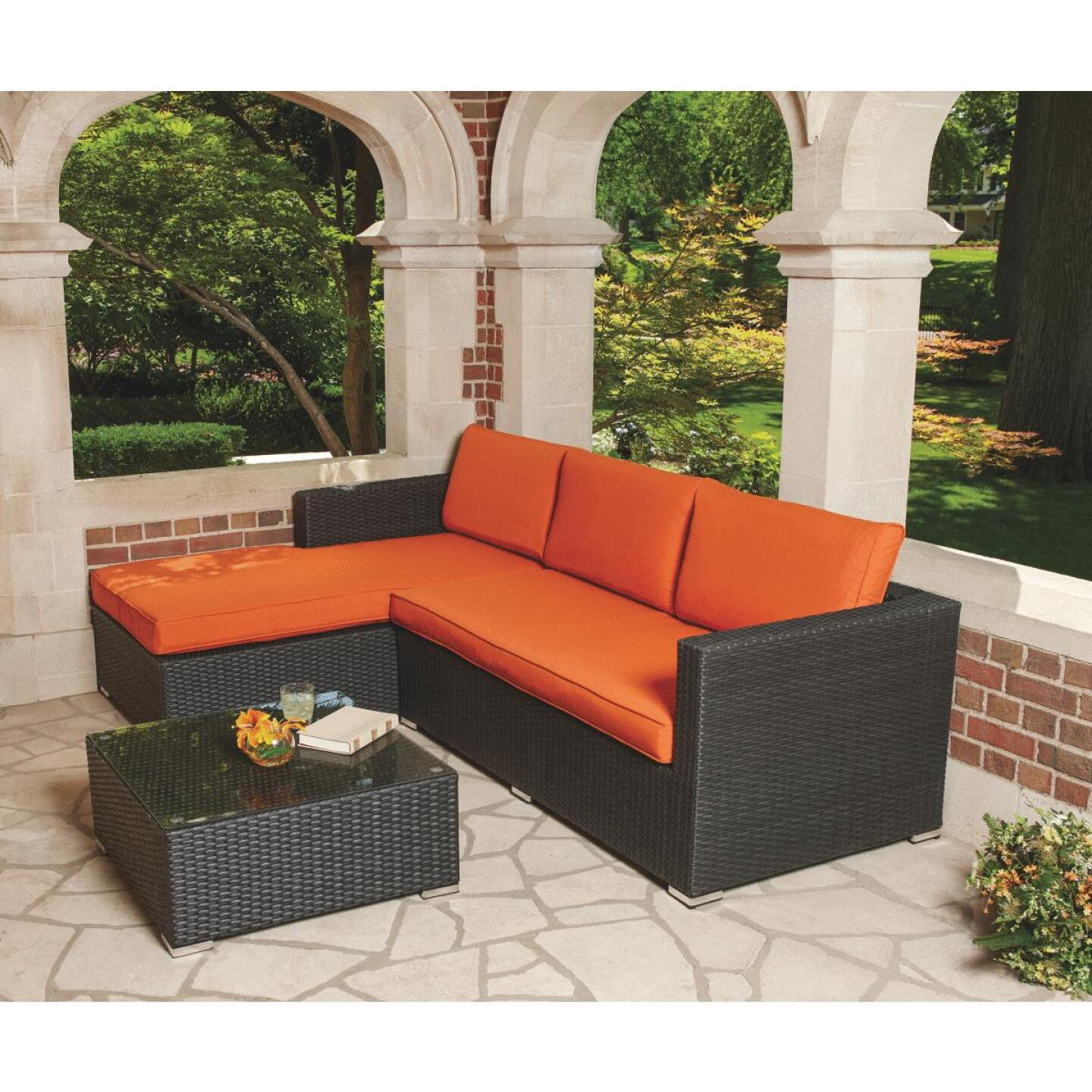 Malibu 3-Seat 94 In. W. x 25 In. H. x 62 In. D. Orange Sectional Sofa Set Image 5