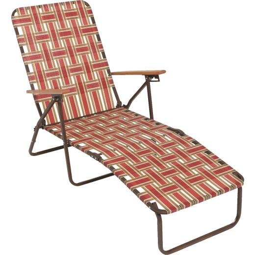 Outdoor Expressions Rust & Beige Web Chaise Lounge