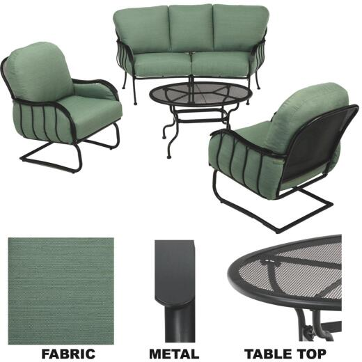 Pacific Casual Magnolia Park 4-Piece Metal Chat Set with Cushions