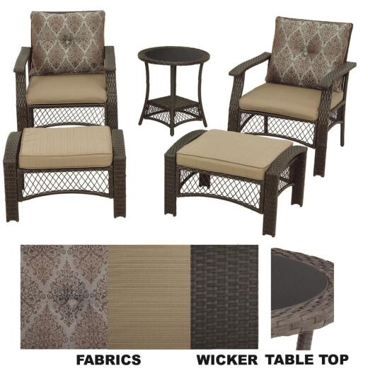Geneva 5-Piece Wicker Chat Set with Cushions