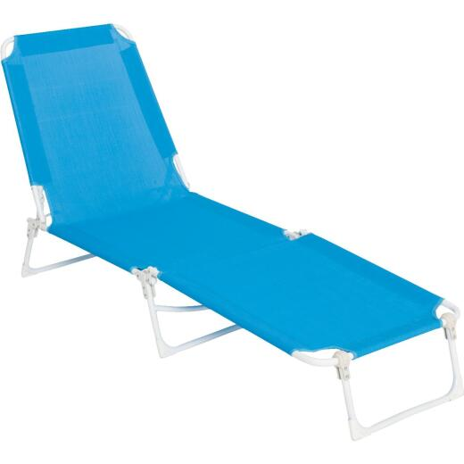 Outdoor Expressions Blue Sling Chaise Lounge