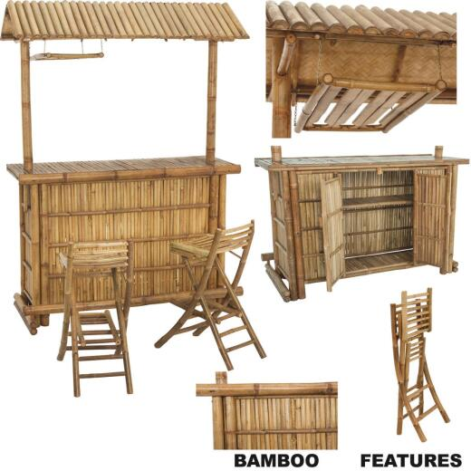 Monarch Silks Bamboo Patio Tiki Bar Set (3-Piece)