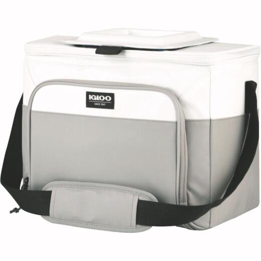 Igloo MaxCold Marine 24-Can Divided Soft-Side Cooler, White & Gray